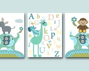 Elephant Nursery Giraffe Nursery Alphabet Nursery Baby Boy Nursery Print Digital Files Children Art set of 3 8x10 , 11X14 INSTANT DOWNLOAD