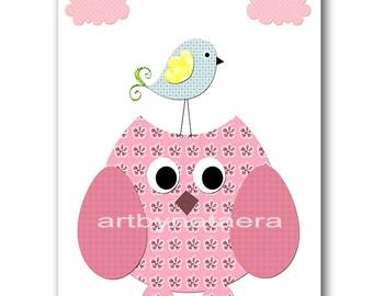 Owl Decor Owl Nursery Digital file Baby Girl Nursery Children Art Kids Wall Art Baby Girl Room Decor 8x10 11X14 INSTANT DOWNLOAD rose green