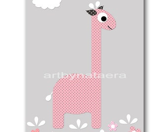Giraffe Nursery Digital Print Printable Art Baby Girl Nursery Children Art Kids Wall Art Baby Girl Print 8x10 11X14 INSTANT DOWNLOAD rose