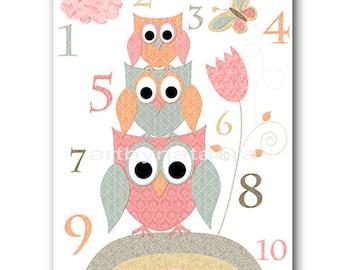 Digital Numbers Nursery Printable Wall Art Baby Girl Nursery Decor Owl Decor Printable Decor Digital Print 8x10 11X14 INSTANT DOWNLOAD rose