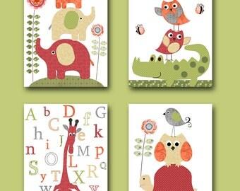 Digital Alphabet Giraffe Nursery Baby Girl Nursery Art Print Elephant Nursery Digital Download set of 4 8x10 11X14 INSTANT DOWNLOAD Wall Art