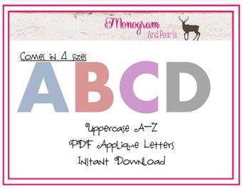 Capital Letter Applique Template Package