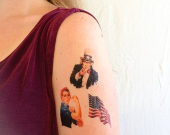 3 Patriotic Temporary Tattoos- GeekTat