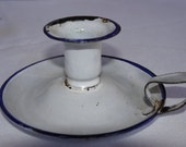 Original 1940's Vintage White Enamel Candleholder.. French Vintage Shabby Chic. Signs of wear which adds to the charm of the item
