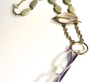 Eye glasses holder, long necklace glasses holder, name tag holder, vintage brooch, one of a kind