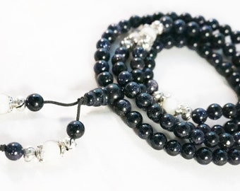 "6mm Tibetan Buddhist 108 Blue Sandstone Prayer Beads Mala Necklace 27"" UK"