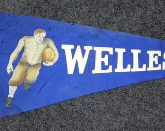 Circa 1910 Oversized Wellesley College Football Graphic Pennant