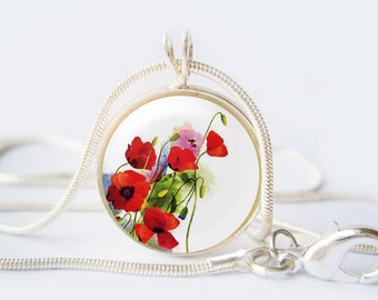 Red poppies Flowers Pendant 20 mm (0,8 inch)