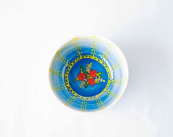 ceramic cereal bowl in sapphire blue