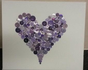Purple Landscape Button Heart Canvas Quirky Unique Gift