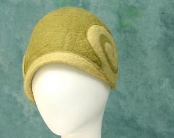 Cloche- Green - Green Cloche - Hand Felted Merino Wool - Hat - Swirl - Nautilus- Cap
