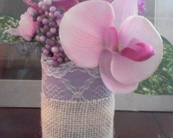 Lavender & white burlap tin painted  vase white lace