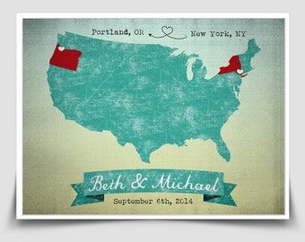 Customized Vintage Map Print - Places You've Lived or Visited: Perfect for a Wedding or Anniversary Gift