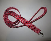 Red with Black Dots Print Leash made with fabric over nylon