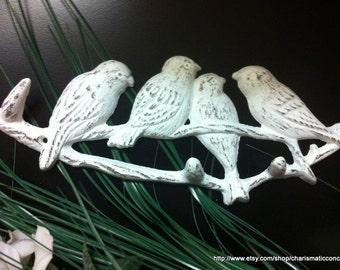 "FOUR BIRDS on Branch Cast Iron Wall HOOK - 11"" X 4"""