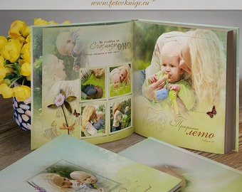 PHOTOBOOK - Happy moments- photo books in the style of scrapbooking - Photoshop Templates for Photographers. 12x12 Photo Book/Album Template