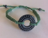 Green Hemp Macrame Adjustable Bracelet with Handmade Polymer Clay Aged Silver Ring Boho Style Jewelry Gift for Her
