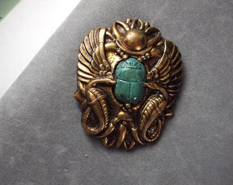 Egyptian Revival Pin with  Scarab, Snakes  and Wings