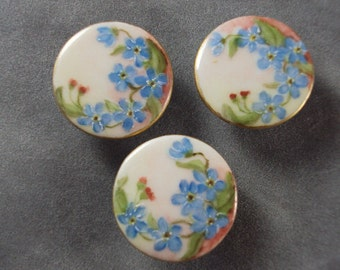 SALE   Victorian Ceramic Buttons with Forget Me Nots