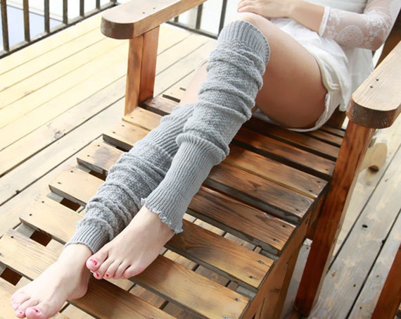 Light Grey Patterns Light Grey Brown Leg Warmers