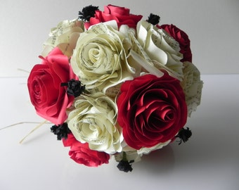 Wedding bouquet for the bride in Origami in red and cremates colors