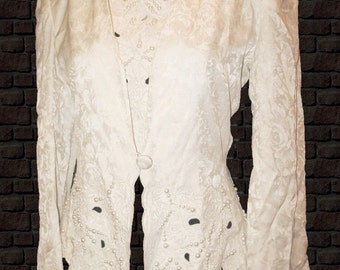 Blazer & mock-tee, D'Ore by Della Riufogali, Silk pearl-beads Jacquard Ivory, 8