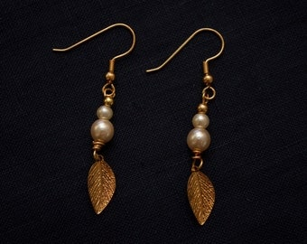 Small Pale Pink Pearlescent Leaf Charm Earrings