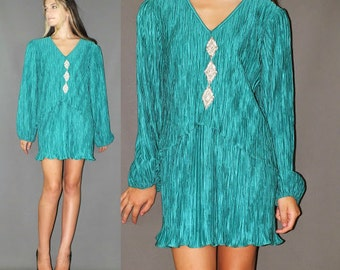 Vintage 80s Glam Emerald Green Crinkle Shiny Rhinestone Accents Party Dress L-XL