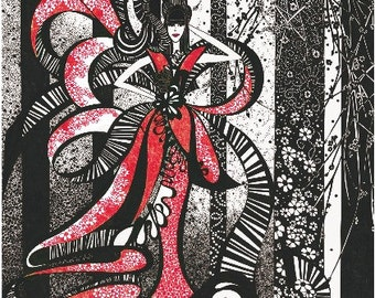 Black and White with Red Blank Illustrated Gift Card - ' Miss  Geranium '