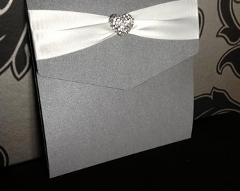 Pocketfold Wedding Invitations | Heart Cluster | Ribbon
