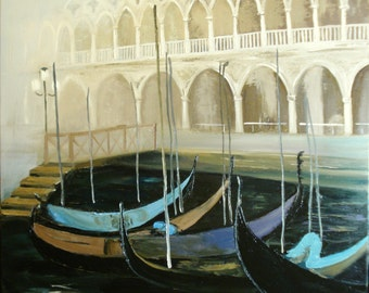 Venice. Palazzo of the Dukale ... Oil painting. Canvas on stretcher/Venice. Palazzo Ducale. Oil painting. Canvas on stretcher