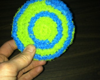 Crocheted Lime Green and Teal Scrubby made of Nylon Netting, Nylon Scrubber, Dish Scrubby, Skin Exfoliater