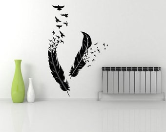 Wall Mural Stencils feather wall stencil | etsy