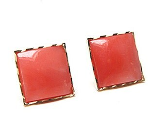 9ct Gold Coral stud earrings S487