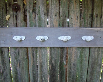Rustic Coat Rack, Towel Rack Made From Lightly Whitewashed Reclaimed Wood with 4 White Distressed Iron Knobs with Base
