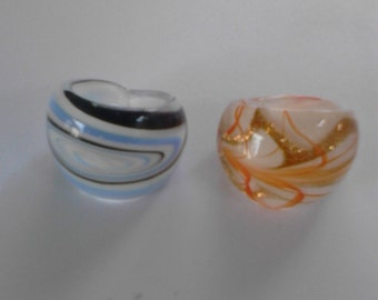 glass murano rings