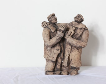 The drunken pair sculpture- (Handmade clay) One of a kind.