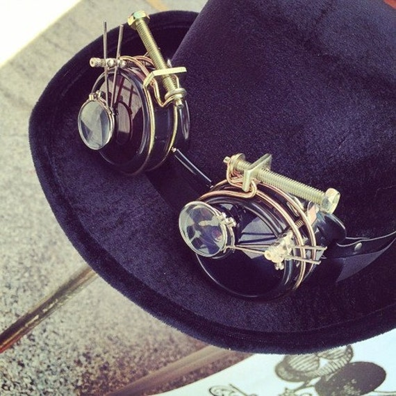 Steampunk Top Hat with Goggles by HannibalHaberdashery on Etsy