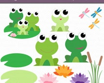 Frog Family Digital Art Set Clipart Commercial Use Clip Art INSTANT Download Frog Clipart Nature Clipart