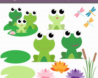 Frog clip art set | Etsy