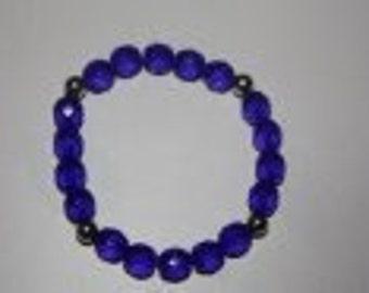 Strech bracelet whit blue beats