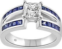 2.31 Carat Princess Square Cut Diamond Open Split Shank Channel Set Blue Sapphire Ladies 14Kt White Gold Engagement Wedding Ring