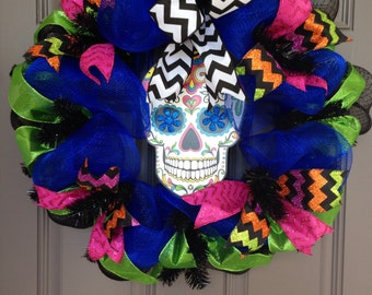 Dia de los Muertos, Day of the Dead, Sugar Skull deco mesh wreath