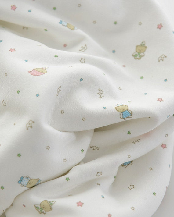 Cute baby knit fabric bears and stars design knit fabric for Cute baby fabric