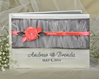 Wedding Guest Book, Coral Guestbook, tulle guestbook, grey pages,