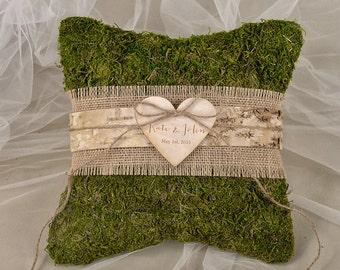 Moss Rustic Wedding Pillow, Burlap  Ring Bearer Pillow, Burlap Ring Pillow, Moss Pillow, shabby chic Ring berarer,