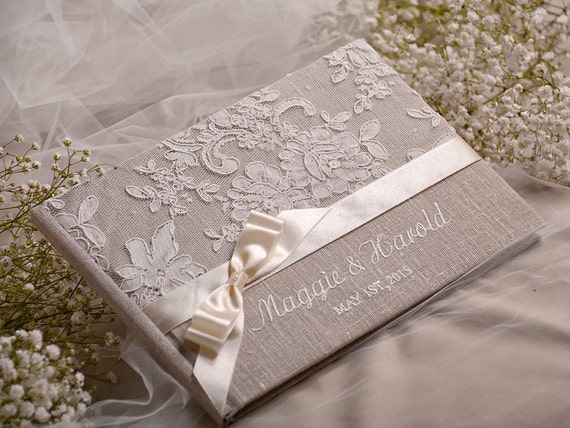 Wedding Guest Book Cover Ideas ~ Wedding guest book guestbook lace shabby chic by