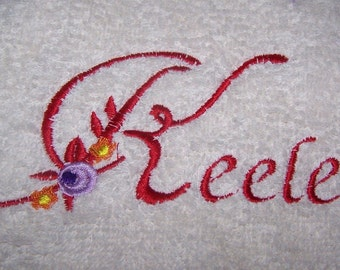 Personalised embroidered  bath towel with your name and a flower(100% cotton)