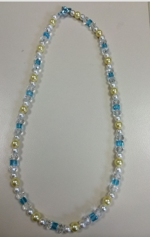 Yellow and White Pearl and Blue and Clear Crystal Necklace