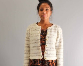 SALE cardigan vintage mohair cardigan . womens sweaters . striped cardigan . neutral cardigan